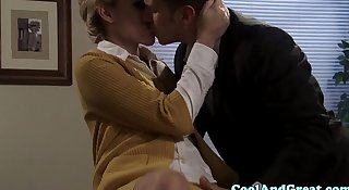 Blonde secretary sucking off her boss