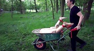 Outdoor dirty bondage humiliation for a broken teen slave