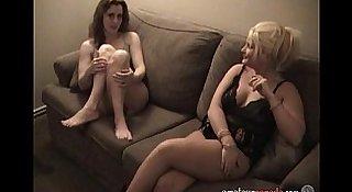 Two lesbian Canadian MILFs mutually masturbate in hotel room as I film