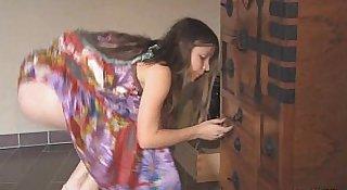 Hippie dress on stripping teen